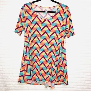 LulaRoe Perfect T Multicolor Chevron Shirt
